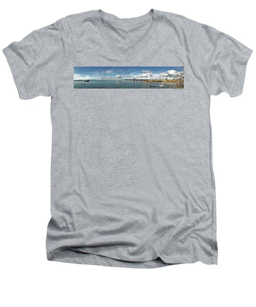 Men's V-Neck T-Shirt featuring the photograph Jetty To Shore by Stephen Mitchell