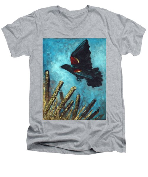 Men's V-Neck T-Shirt featuring the painting Jewel Among The Cattails by Suzanne McKee