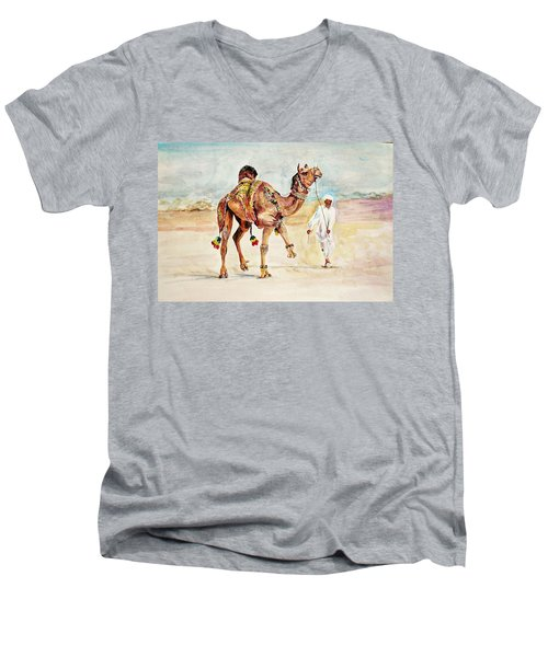 Jewellery And Trappings On Camel. Men's V-Neck T-Shirt by Khalid Saeed