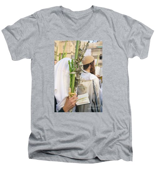 Jewish Sunrise Prayers At The Western Wall, Israel 11 Men's V-Neck T-Shirt