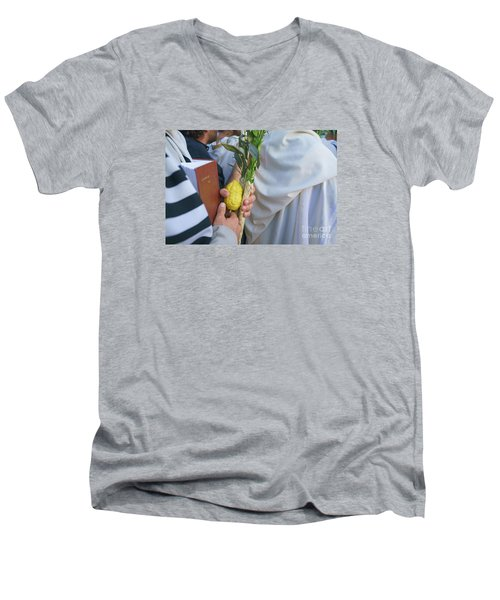 Jewish Sunrise Prayers At The Western Wall, Israel 12 Men's V-Neck T-Shirt