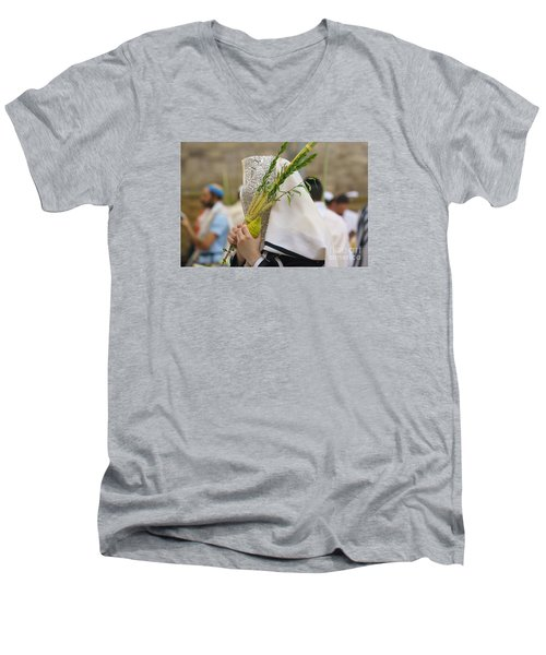 Jewish Sunrise Prayers At The Western Wall, Israel 5 Men's V-Neck T-Shirt