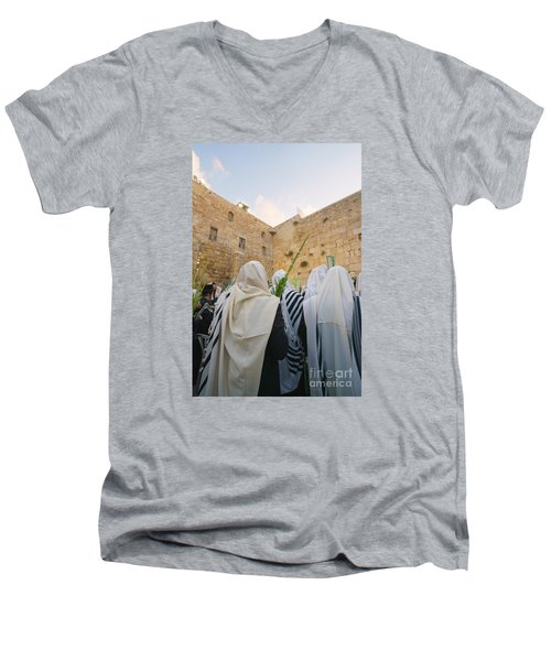 Jewish Sunrise Prayers At The Western Wall, Israel 9 Men's V-Neck T-Shirt
