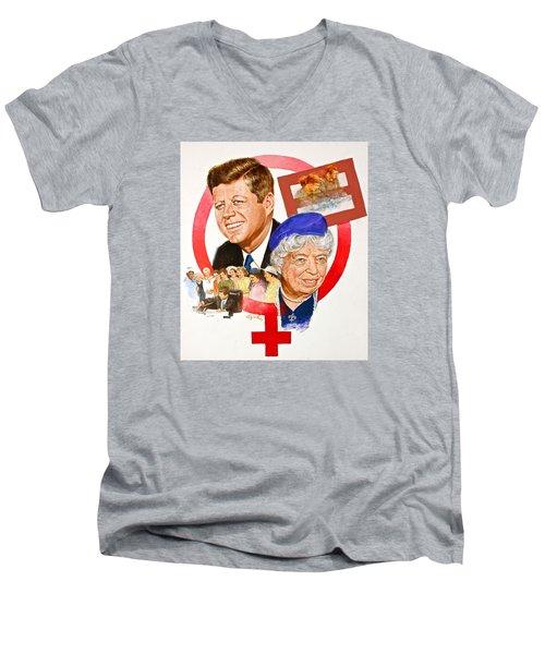 Jfk And Elenore Roosevelt  Men's V-Neck T-Shirt
