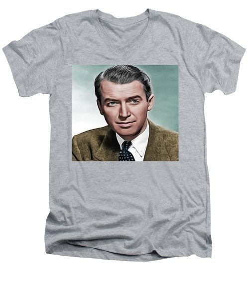 Men's V-Neck T-Shirt featuring the painting Jimmy by Harry Warrick