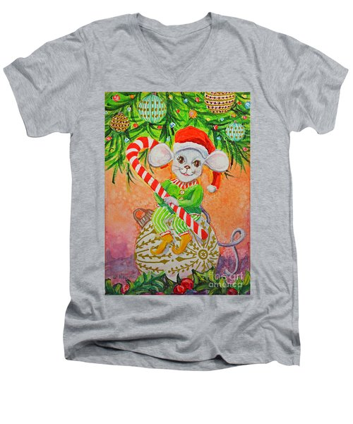 Jingle Mouse Men's V-Neck T-Shirt by Li Newton