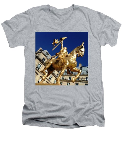 Men's V-Neck T-Shirt featuring the photograph Joan Of Arc - Paris by Therese Alcorn