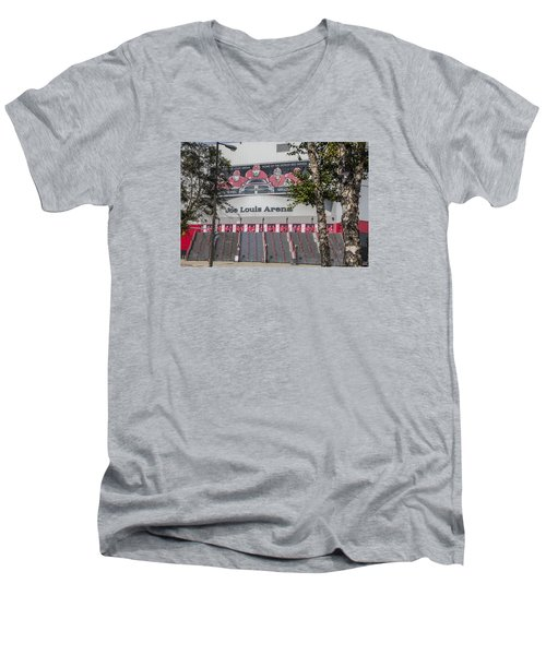 Joe Louis Arena And Trees Men's V-Neck T-Shirt