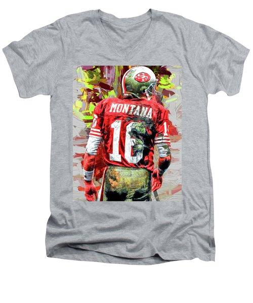 Joe Montana Football Digital Fantasy Painting San Francisco 49ers Men's V-Neck T-Shirt by David Haskett