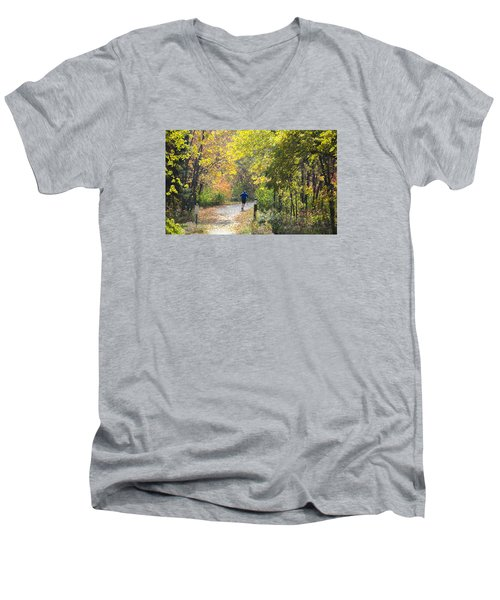 Jogger On Nature Trail In Autumn Men's V-Neck T-Shirt