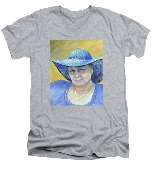 Men's V-Neck T-Shirt featuring the painting Johanna by Luczay