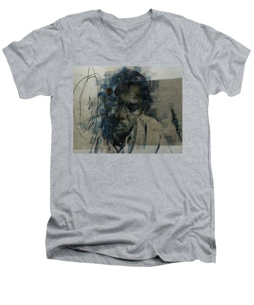 Men's V-Neck T-Shirt featuring the mixed media John Coltrane / Retro by Paul Lovering