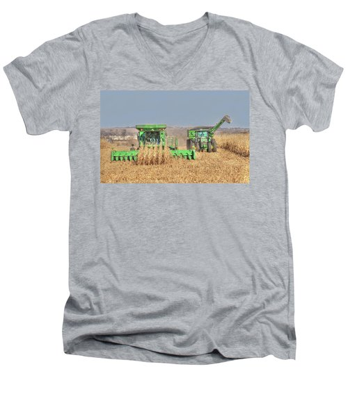 John Deere Combine Picking Corn Followed By Tractor And Grain Cart Men's V-Neck T-Shirt
