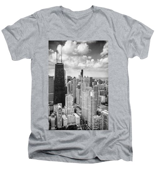 John Hancock Building In The Gold Coast Black And White Men's V-Neck T-Shirt by Adam Romanowicz