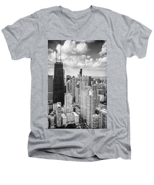 John Hancock Building In The Gold Coast Black And White Men's V-Neck T-Shirt