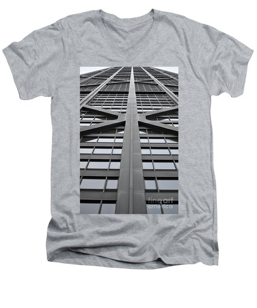 John Hancock Building Men's V-Neck T-Shirt by Mary Machare
