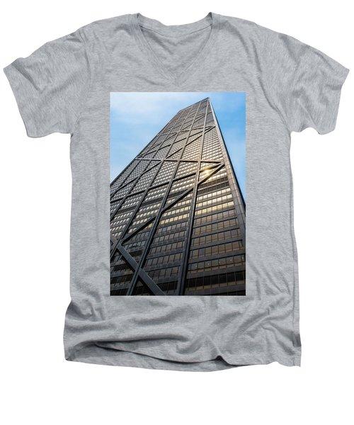 John Hancock Center Chicago Men's V-Neck T-Shirt by Steve Gadomski