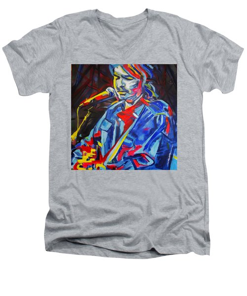 Men's V-Neck T-Shirt featuring the painting John Prine #3 by Eric Dee