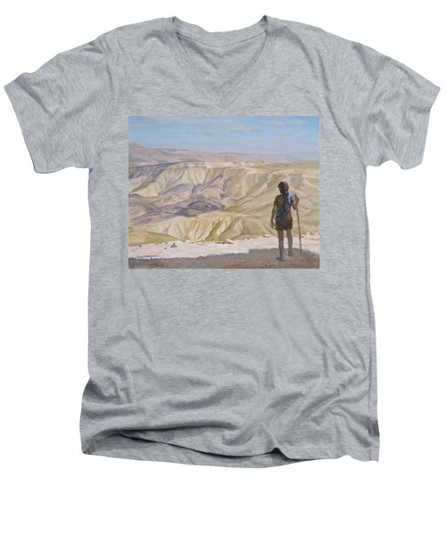 John The Baptist In The Desert Men's V-Neck T-Shirt