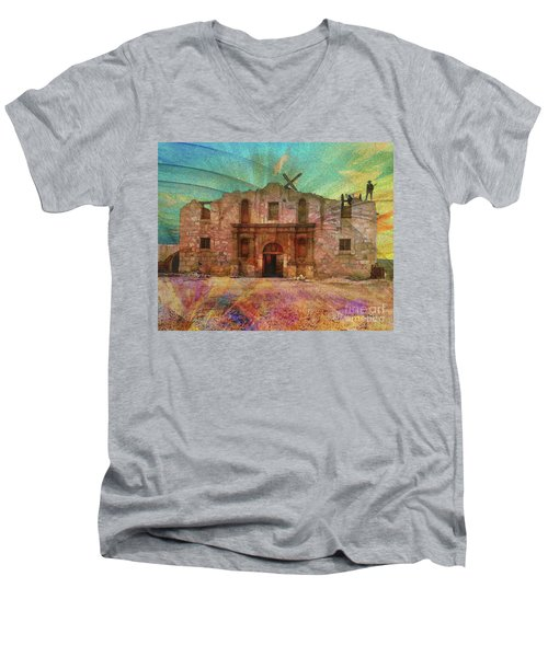 John Wayne's Alamo Men's V-Neck T-Shirt by John Robert Beck