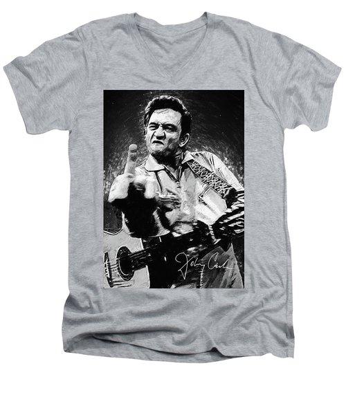 Johnny Cash Men's V-Neck T-Shirt by Taylan Apukovska