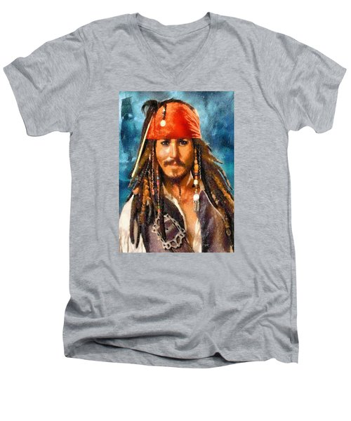 Men's V-Neck T-Shirt featuring the digital art Johnny Depp As Jack Sparrow by Charmaine Zoe