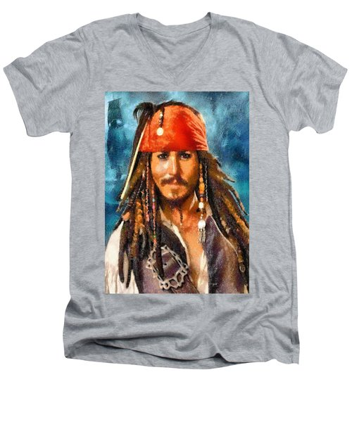 Johnny Depp As Jack Sparrow Men's V-Neck T-Shirt