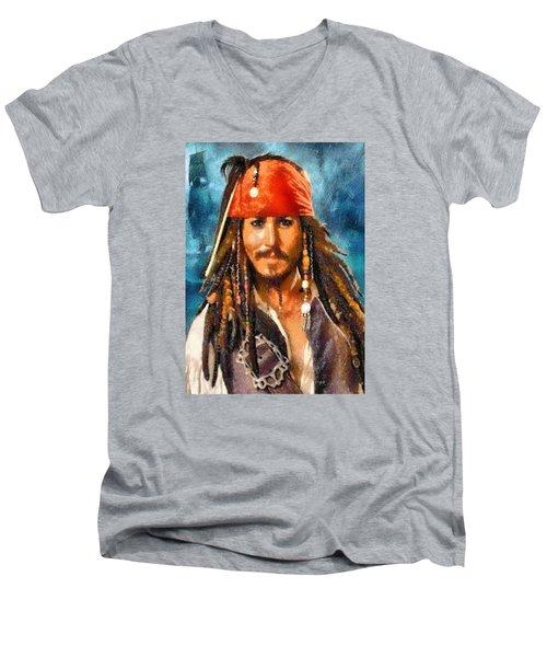 Johnny Depp As Jack Sparrow Men's V-Neck T-Shirt