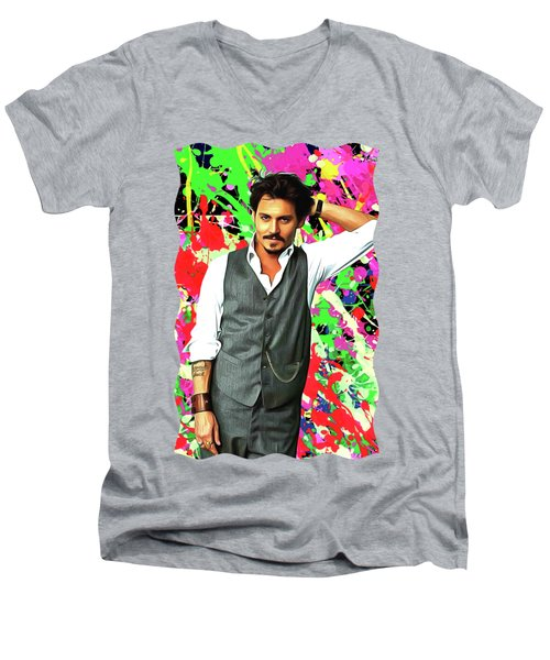 Johnny Depp - Celebrity Art Men's V-Neck T-Shirt