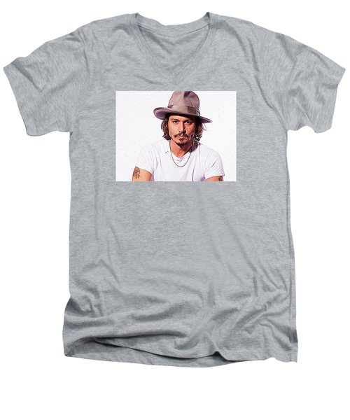 Johnny Depp Men's V-Neck T-Shirt by Iguanna Espinosa