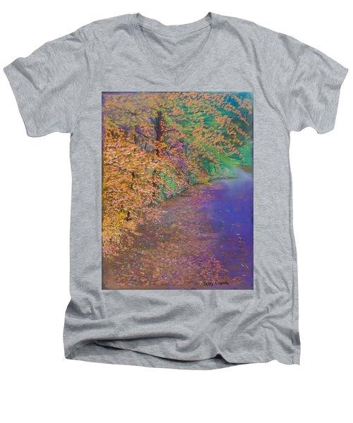 John's Pond In The Fall Men's V-Neck T-Shirt