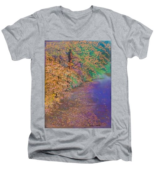 John's Pond In The Fall Men's V-Neck T-Shirt