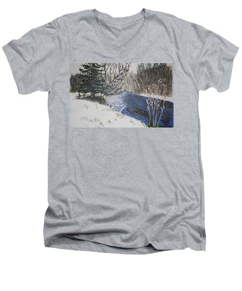 Men's V-Neck T-Shirt featuring the painting Johnson Vermont In Spring Snow Storm by Donna Walsh