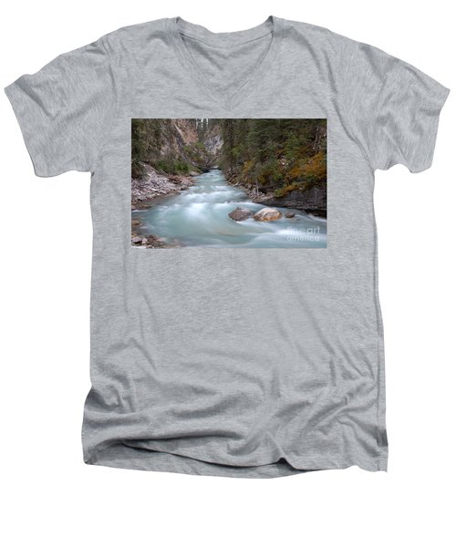 Men's V-Neck T-Shirt featuring the photograph Johnston Canyon In Banff National Park by RicardMN Photography