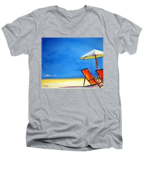 Men's V-Neck T-Shirt featuring the painting Join Me by Suzanne McKee