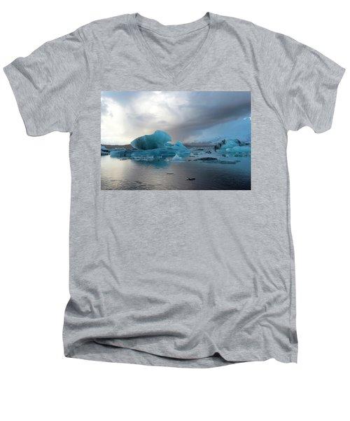 Men's V-Neck T-Shirt featuring the photograph Jokulsarlon, The Glacier Lagoon, Iceland 4 by Dubi Roman