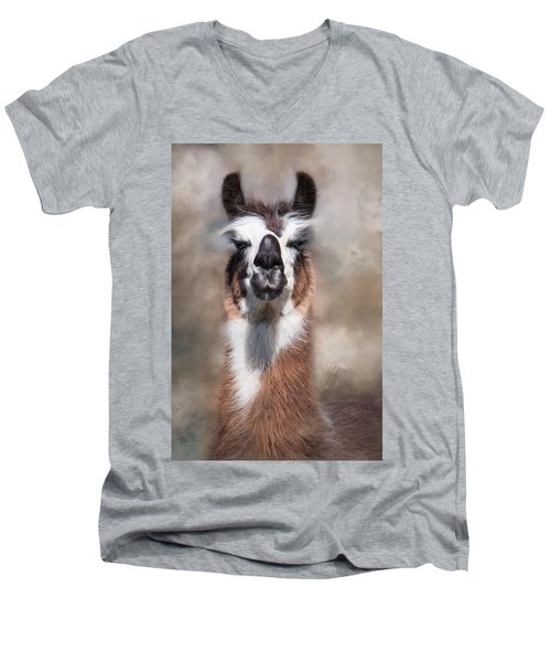 Men's V-Neck T-Shirt featuring the photograph Jolly Llama by Robin-Lee Vieira