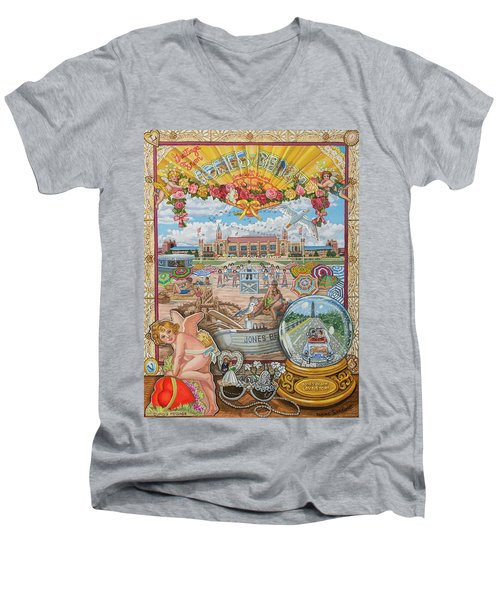 Jones Beach Love Story Men's V-Neck T-Shirt by Bonnie Siracusa