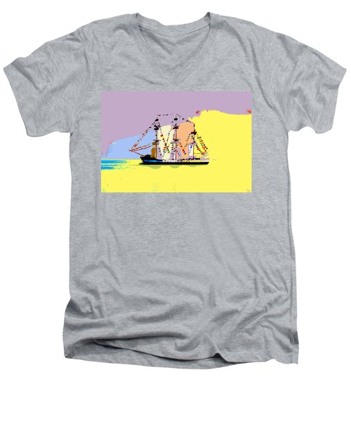 Men's V-Neck T-Shirt featuring the painting Jose Gasparilla Sailing Colorful Tampa Bay by David Lee Thompson