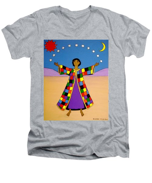 Men's V-Neck T-Shirt featuring the painting Joseph And His Coat Of Many Colours by Stephanie Moore