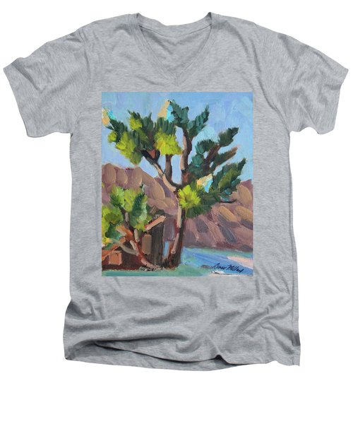 Men's V-Neck T-Shirt featuring the painting Joshua At Keys Ranch by Diane McClary