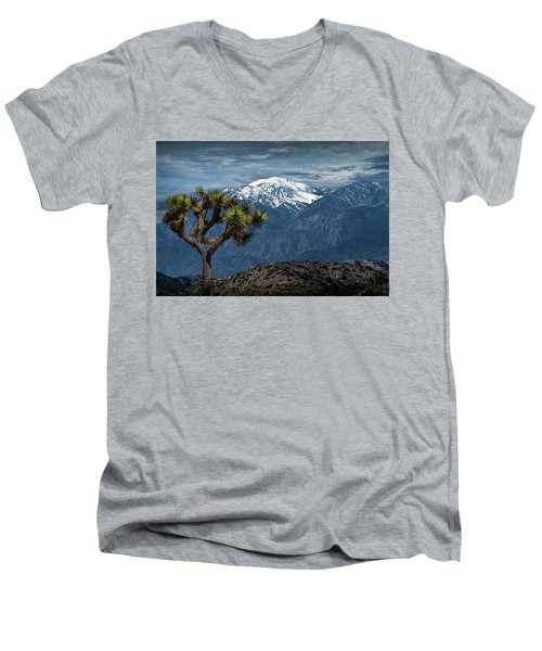 Men's V-Neck T-Shirt featuring the photograph Joshua Tree At Keys View In Joshua Park National Park by Randall Nyhof