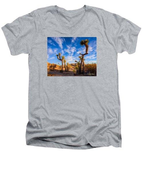 Men's V-Neck T-Shirt featuring the photograph Joshua Tree Dawn by Rikk Flohr