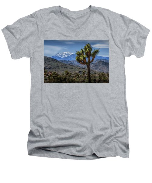 Men's V-Neck T-Shirt featuring the photograph Joshua Tree In Joshua Park National Park With The Little San Bernardino Mountains In The Background by Randall Nyhof