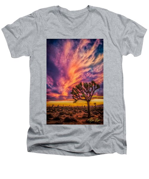 Joshua Tree In The Glowing Swirls Men's V-Neck T-Shirt