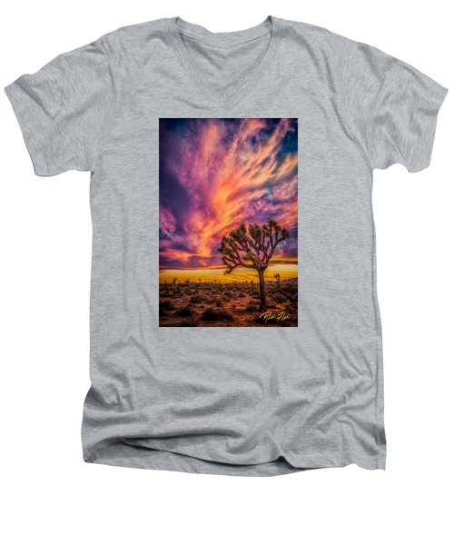 Joshua Tree In The Glowing Swirls Men's V-Neck T-Shirt