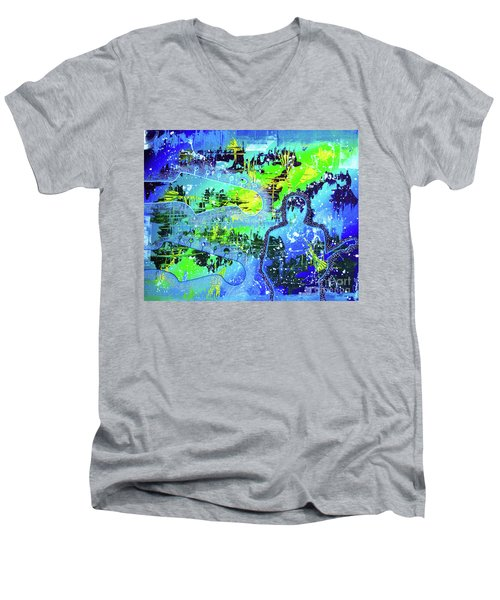 Men's V-Neck T-Shirt featuring the painting Journeyman by Melissa Goodrich