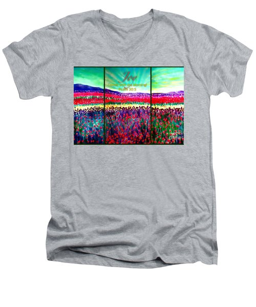 Joy Comes With The Morning Triptych  Men's V-Neck T-Shirt by Kimberlee Baxter