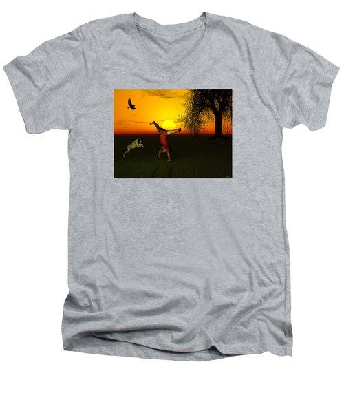 Joy Men's V-Neck T-Shirt by Michele Wilson
