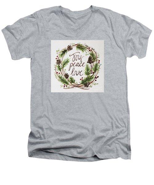 Joy, Peace, Love Men's V-Neck T-Shirt by Elizabeth Robinette Tyndall